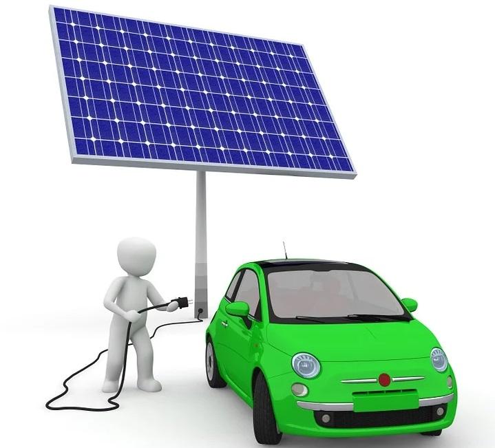 Estación de carga de vehículo eléctrico con paneles solares